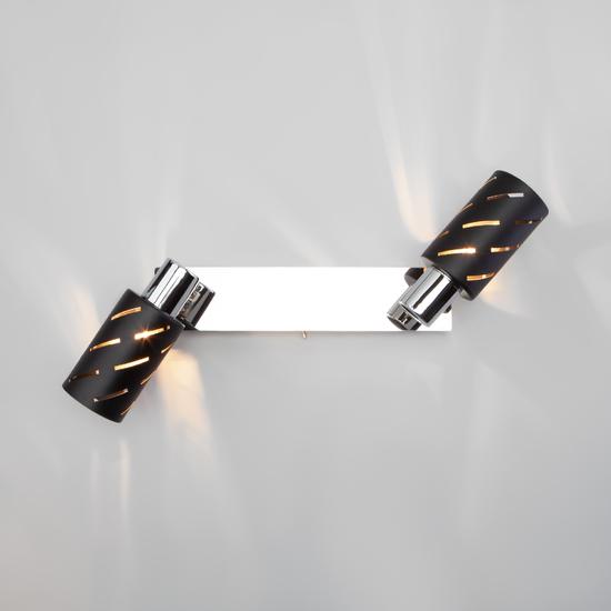Фото №6 Настенный светильник с поворотными плафонами 20090/2 черный/хром
