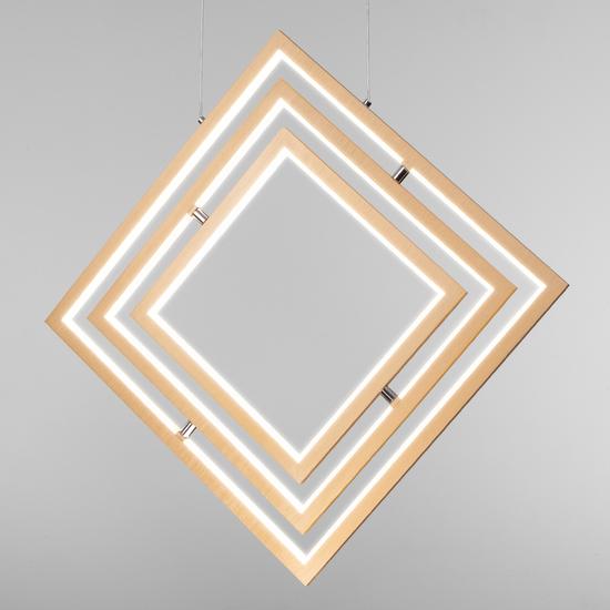 Фото №4 Подвесной светодиодный светильник 90224/3 матовое золото