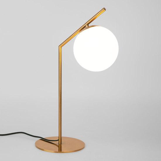 Фото №2 Настольная лампа со стеклянным плафоном 01082/1 латунь