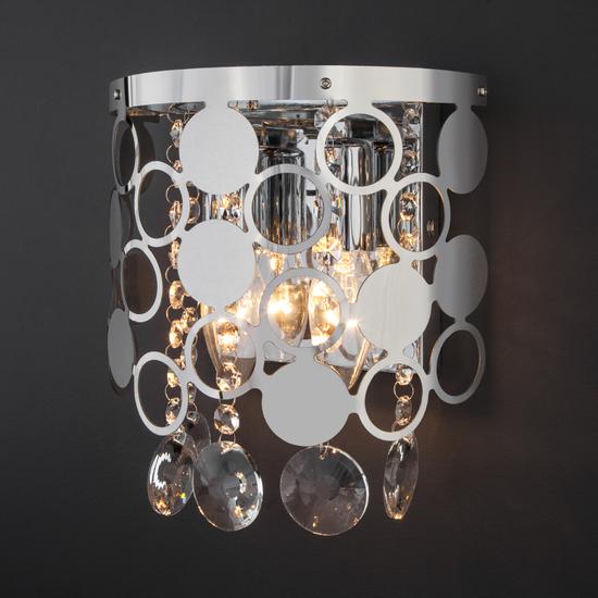 Фото №3 Настенный светильник с хрусталем 10114/2 хром/прозрачный хрусталь Strotskis