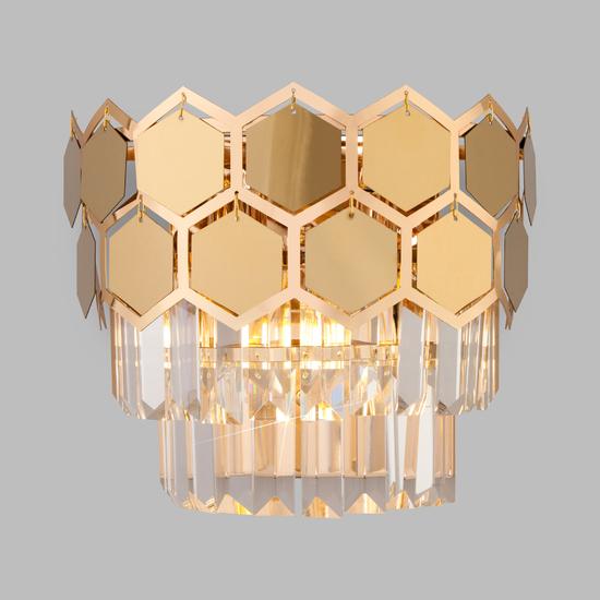 Фото №2 Настенный светильник с хрусталем 10113/2 золото/прозрачный хрусталь Strotskis