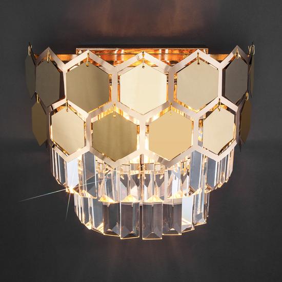 Фото №3 Настенный светильник с хрусталем 10113/2 золото/прозрачный хрусталь Strotskis
