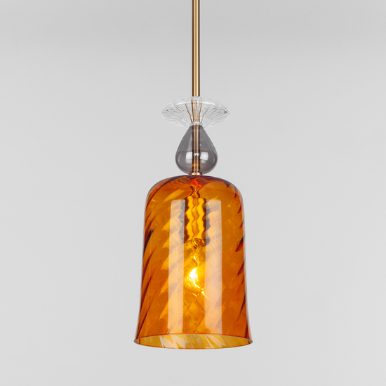 Фото №2 Подвесной светильник со стеклянным плафоном 50194/1 янтарный