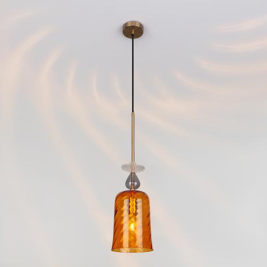Фото №3 Подвесной светильник со стеклянным плафоном 50194/1 янтарный