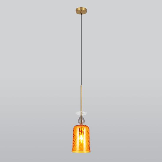 Фото №4 Подвесной светильник со стеклянным плафоном 50194/1 янтарный