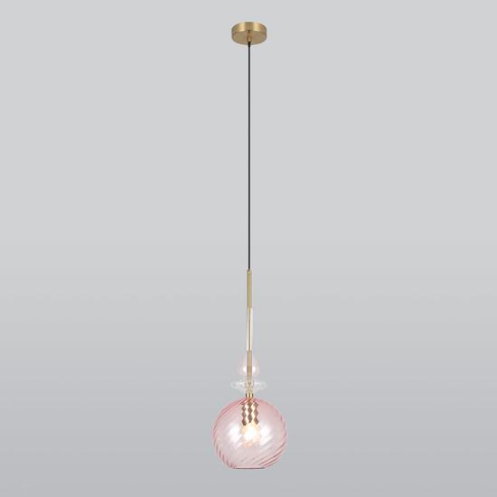 Фото №4 Подвесной светильник со стеклянным плафоном 50192/1 розовый