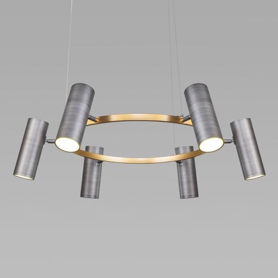 Фото №3 Подвесной светодиодный светильник 90103/6 матовый серый/золото