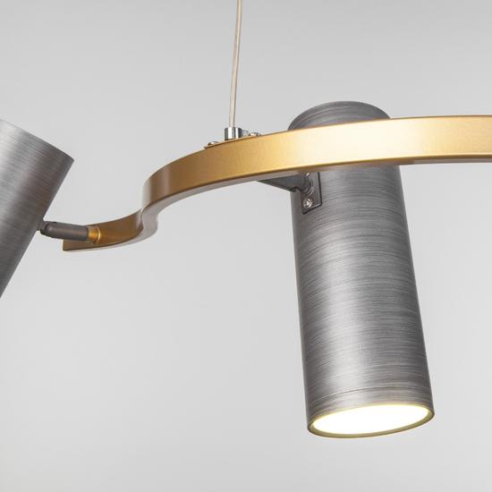 Фото №4 Подвесной светодиодный светильник 90103/5 матовый серый/золото