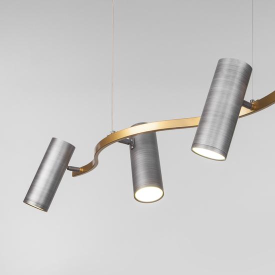 Фото №5 Подвесной светодиодный светильник 90103/5 матовый серый/золото