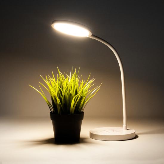 Фото №4 Светодиодная настольная лампа с беспроводной зарядкой QI Tiara белый (TL90560)