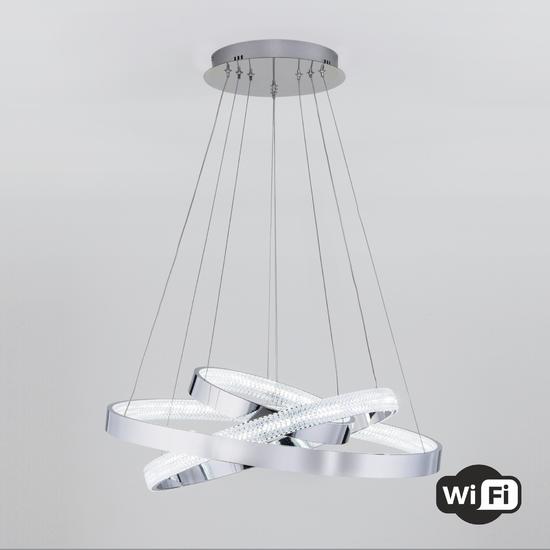 Фото №2 Светодиодная люстра с управлением по Wi-Fi 90276/3 хром