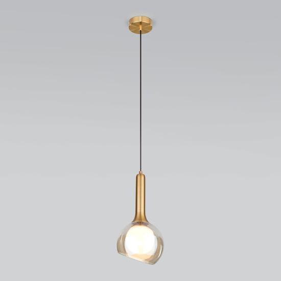 Фото №3 Подвесной светильник со стеклянным плафоном 50188/1 янтарный