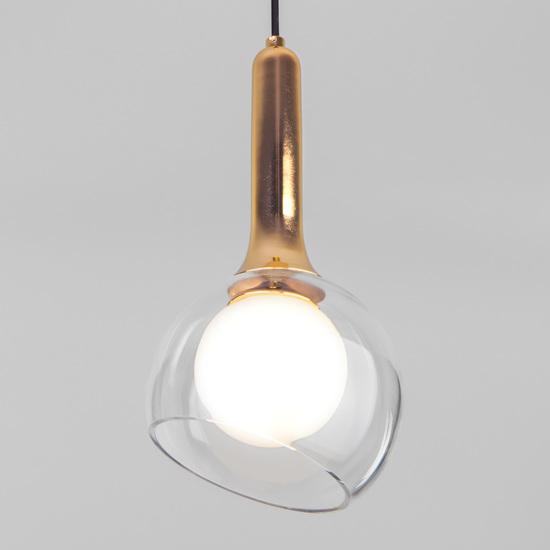 Фото №2 Подвесной светильник со стеклянным плафоном 50188/1 золото
