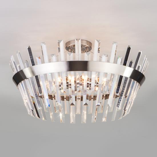 Фото №2 Потолочный светильник с хрусталем 10111/8 сатин-никель / прозрачный хрусталь Strotskis