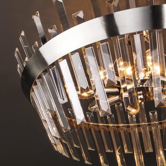 Фото №4 Потолочный светильник с хрусталем 10111/8 сатин-никель / прозрачный хрусталь Strotskis