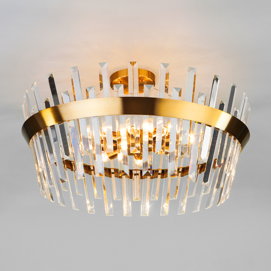 Фото №2 Потолочная люстра с хрусталем 10111/8 золотая бронза/прозрачный хрусталь Strotskis