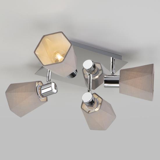 Фото №6 Потолочный светильник с поворотными абажурами 20087/4 хром/серый