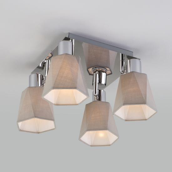 Фото №7 Потолочный светильник с поворотными абажурами 20087/4 хром/серый