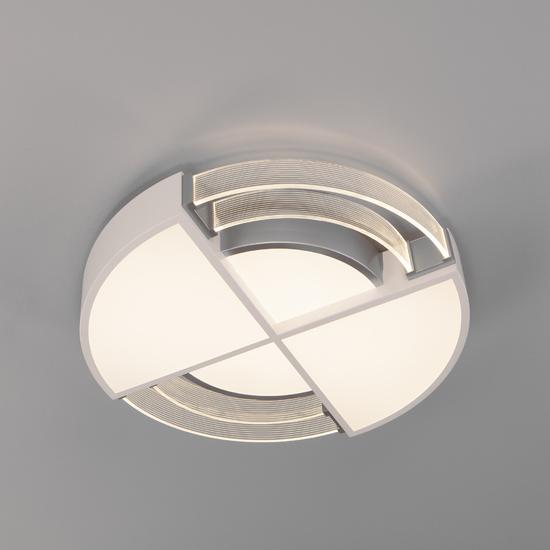 Фото №2 Потолочный светодиодный светильник с пультом управления 90181/1 белый/серебро