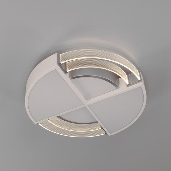 Фото №4 Потолочный светодиодный светильник с пультом управления 90181/1 белый/серебро