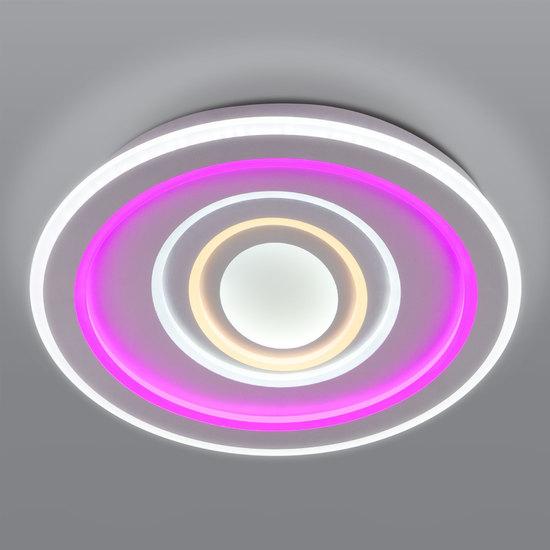 Фото №2 Потолочный светодиодный светильник с цветной подсветкой 90214/1 белый