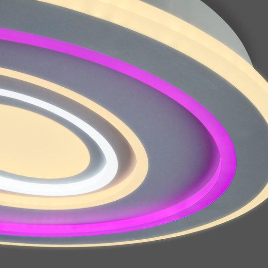Фото №3 Потолочный светодиодный светильник с цветной подсветкой 90214/1 белый