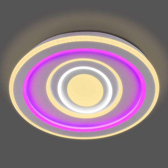 Фото №4 Потолочный светодиодный светильник с цветной подсветкой 90214/1 белый