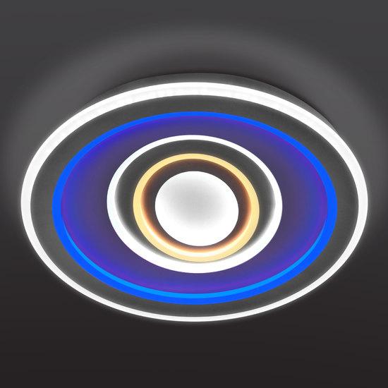 Фото №5 Потолочный светодиодный светильник с цветной подсветкой 90214/1 белый