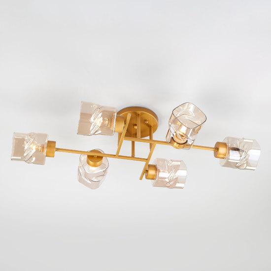 Фото №2 Потолочная люстра со стеклянными плафонами 30165/6 перламутровое золото