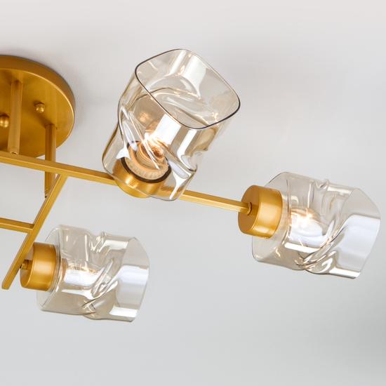 Фото №4 Потолочная люстра со стеклянными плафонами 30165/6 перламутровое золото