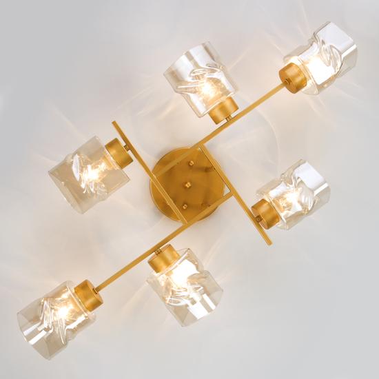 Фото №5 Потолочная люстра со стеклянными плафонами 30165/6 перламутровое золото