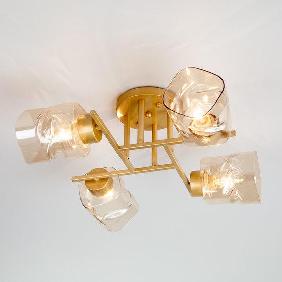 Фото №2 Потолочная люстра со стеклянными плафонами 30165/4 перламутровое золото