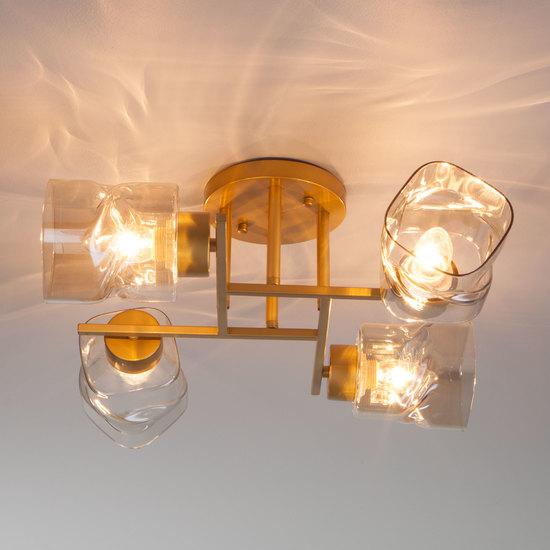 Фото №4 Потолочная люстра со стеклянными плафонами 30165/4 перламутровое золото