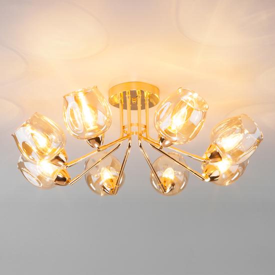 Фото №5 Потолочная люстра со стеклянными плафонами 30164/8 золото