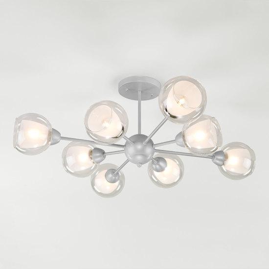 Фото №2 Потолочная люстра со стеклянными плафонами 30163/8 серебро