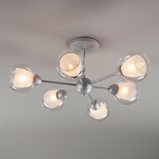 Фото №4 Потолочная люстра со стеклянными плафонами 30163/6 серебро