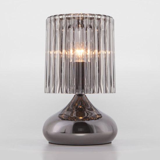 Фото №2 Настольная лампа со стеклянным абажуром 01068/1 черный жемчуг