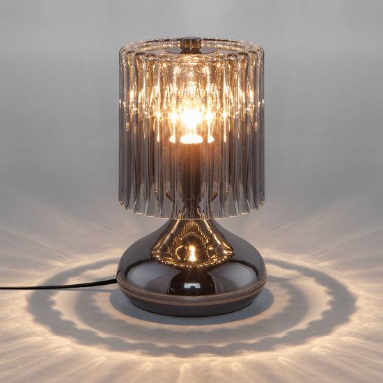 Фото №4 Настольная лампа со стеклянным абажуром 01068/1 черный жемчуг