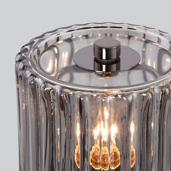 Фото №5 Настольная лампа со стеклянным абажуром 01068/1 черный жемчуг