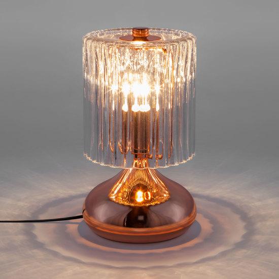 Фото №3 Настольная лампа со стеклянным абажуром 01068/1 розовое золото