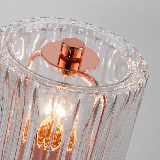 Фото №4 Настольная лампа со стеклянным абажуром 01068/1 розовое золото