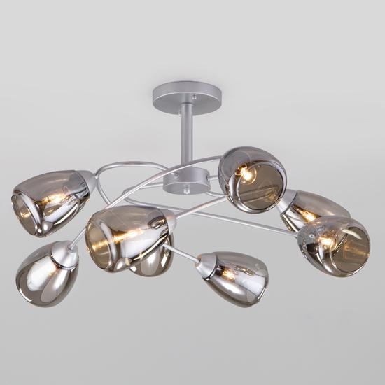 Фото №2 Потолочная люстра со стеклянными плафонами 30168/8 матовое серебро
