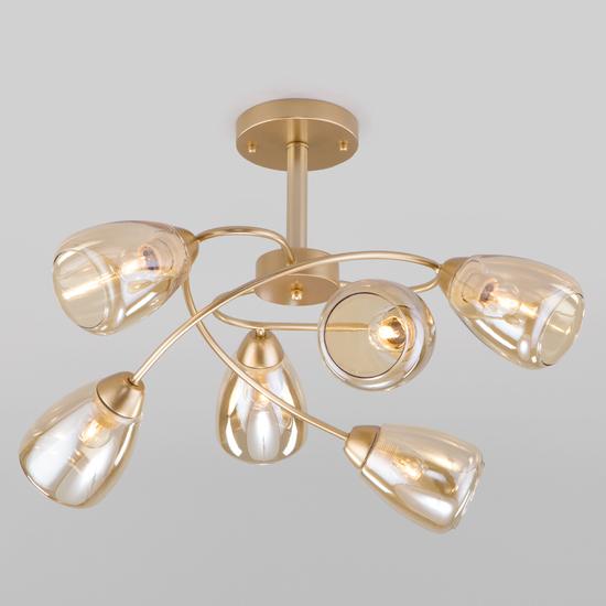 Фото №2 Потолочная люстра со стеклянными плафонами 30168/6 матовое золото