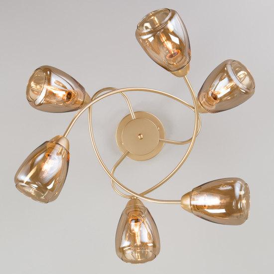 Фото №4 Потолочная люстра со стеклянными плафонами 30168/6 матовое золото