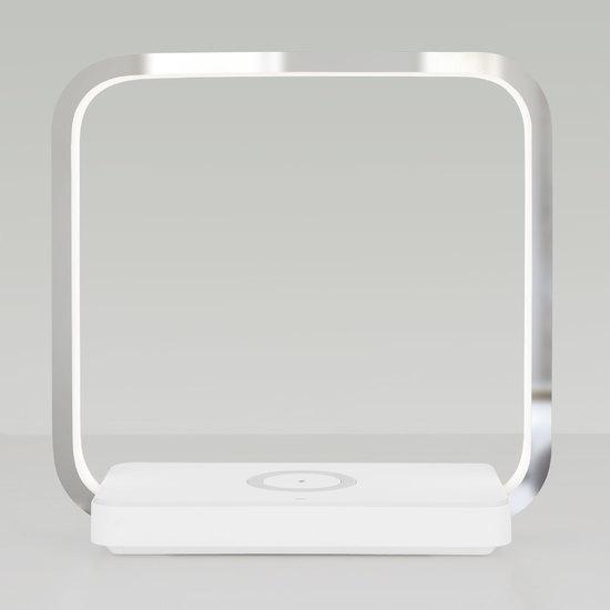 Фото №3 Светодиодная настольная лампа с беспроводной зарядкой QI 80502/1 хром