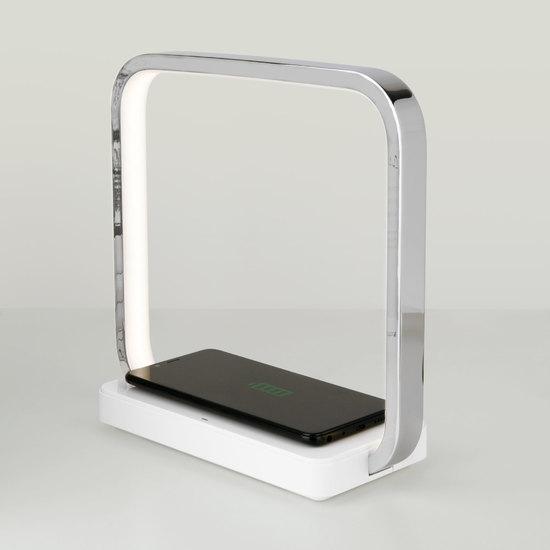Фото №6 Светодиодная настольная лампа с беспроводной зарядкой QI 80502/1 хром