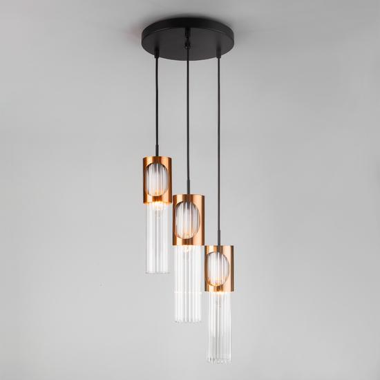 Фото №2 Подвесной светильник со стеклянными плафонами 50087/3 черный/бронза