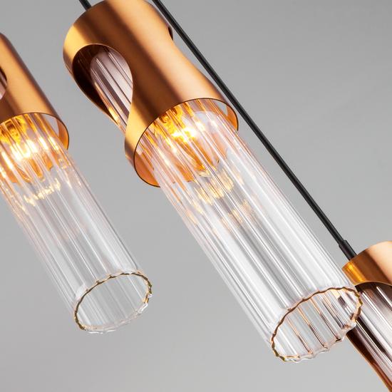 Фото №4 Подвесной светильник со стеклянными плафонами 50087/3 черный/бронза