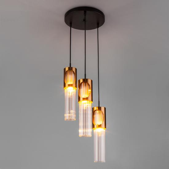 Фото №5 Подвесной светильник со стеклянными плафонами 50087/3 черный/бронза