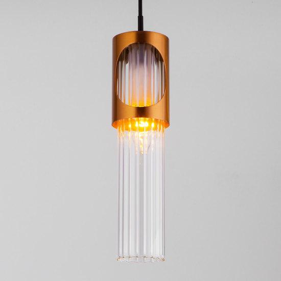 Фото №2 Подвесной светильник со стеклянным плафоном 50087/1 черный/бронза